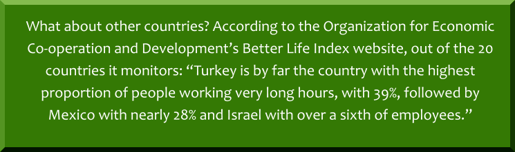 "What about other countries? According to the Organization for Economic Co-operation and Development's Better Life Index website, out of the 20 countries it monitors: ""Turkey is by far the country with the highest proportion of people working very long hours, with 39%, followed by Mexico with nearly 28% and Israel with over a sixth of employees."""